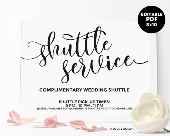 Shuttle Service Sign Wedding Shuttle Sign Printable Wedding