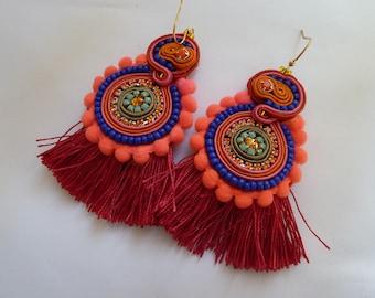 Boho XL hippie Spirit earrings, fringe earrings, soutache earrings, color earrings, large earrings, orange color,
