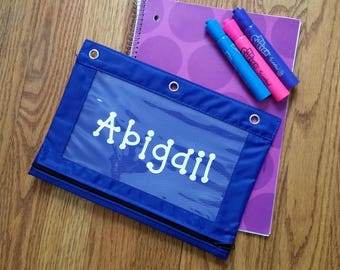 Personalized Pencil Pouch, Clear View Pencil Pouch, Back to School, School Supplies Pouch, Pencil Bag