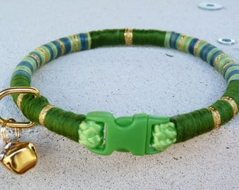 Greens, blue and gold sparkle dog collar, puppy collar, small dog collar, cat collar, braided collar, bell and charm.