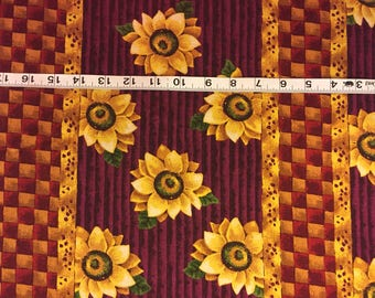 Sunflower Fabric Panel One Piece Almost 2 Yards