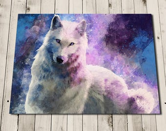 Wolf Print - Space Art - White Wolf Painting - Purple Wall Art - Wolf Home Decor - Art for Girls Room - Unusual Wall Art - Wolf Art Print