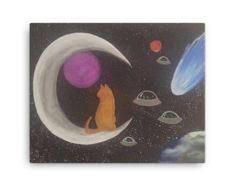 Cosmic Cat Alien Invasion Canvas Print