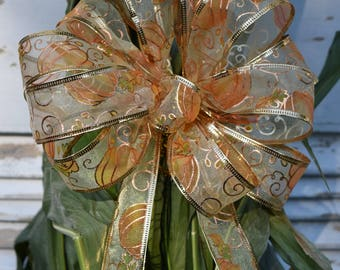 Pumpkins and Vines Bow, Fall Bow, Autumn Bow, Thanksgiving Bow, Halloween Bow, Orange Pumpkin Bow, Wreath Bow, Cornstalk Bow, Basket Bow