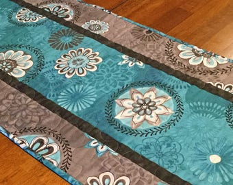 Teal and Gray Quilted Table Runner, Teal Table Runner, Quilted Table Runner, Modern Table Runner, Teal and Gray, Table Runner Quilt