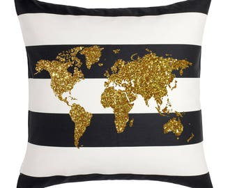 18 x 18 World Map Gold Glitter Black and White Striped Canvas Throw Pillow Case