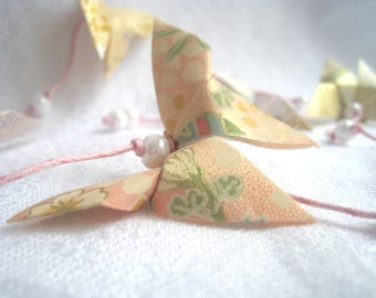 """Garland of butterflies origami - shades of Pastel pink, white, Gold - Collection """"and tenderness, b..."""""""