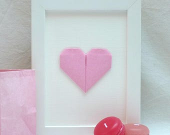 Hanger - heart origami - plain pink - 'My heart, my love' Collection