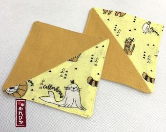 Set of 2 PCS Drink Coasters Japanese Tenugui fabrics Yellow Coasters - Free Shipping!!