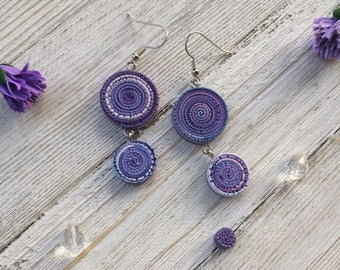 Lilac Swirls earrings boho purple texturized casual interesting cute