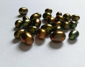 Metallic green drop shape pearls 10x7mm and 8x5mm