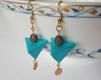 Origami pyramid celedon green earrings