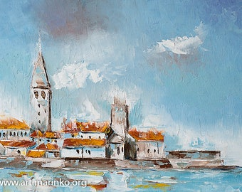 Porec city in Croatia - Original painting oil on canvas - palette knife
