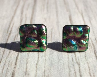 Dichroic Fused Glass Stud Earrings - Green and Pink Dewdrop Textured Dichroic with Solid Sterling Silver Posts