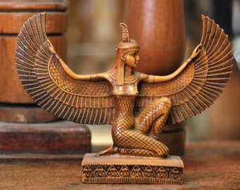 Authentic Golden Queen Isis Statue| Gilded Ancient Egyptian Isis Statue| The Goddess of Fertility| Handmade Egyptian Statue| Goddess Isis