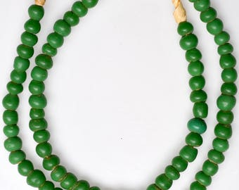 24 Inch Strand of Old Green German Padre Beads - Vintage African Trade Beads - PA68