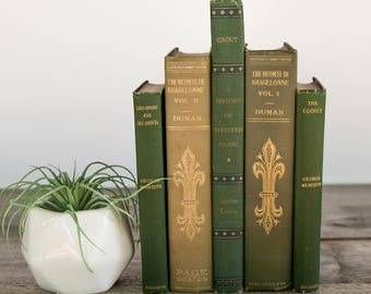 Set of Green & Gold Old Books, Antique Books, Shabby Chic Decor, Vintage Book Set, Wedding Book Decor, Books for Staging, Decorative Books