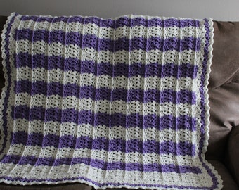 Baby Blanket/Afghan in purple and ivory