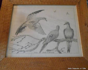 "1966 Charles Beckendorf Charcoal Drawing Print : ""Morning Doves"""