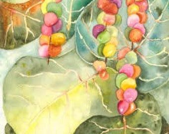 Sea Grapes Watercolor Painting (Original)