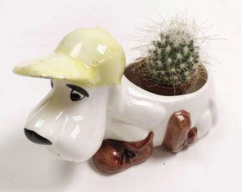Vintage Crazy Dog Cactus Succulent Plant Holder Ornament