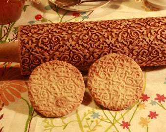 Damask Embossing Rolling Pin, Ornament Cookie Stamp, Engraved Pattern Rolling Pin, Cookie roller, Baking Gift