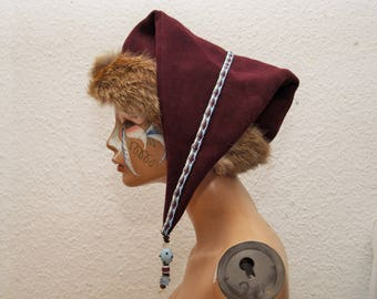 CAP, Viking, RUS, Gr. 59, wool, linen, plate lace, hand-woven, glass beads, amber, Fox, fur