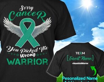 Personalized Liver Cancer Hepatitis B Awareness Tshirt Jade Ribbon Warrior Support Survivor Custom T-shirt Unisex Women Youth Kids Tee