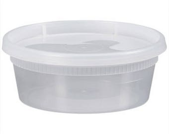 12 Slime Plastic Container with Lids (8oz)