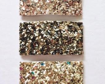 Rose gold Leopard Gold glitter snap clip OR alligator clip