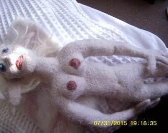 "Needle felted ""Paleo"" winged nude fantasy faun doll - ""Odette"""