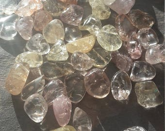 Mixed lot of Ice crackled Quartz. 195g of mixed natural Quartz nugget beads. Beautiful mixed lot of pastel colours. Drilled beads.