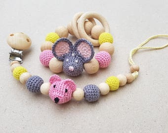 Baby shower gift set, Natural Pacifier clip, Dummy chain, Baby girl gift, Dummy holder, Teething toys, Baby rattle, Natural, D Roo toys