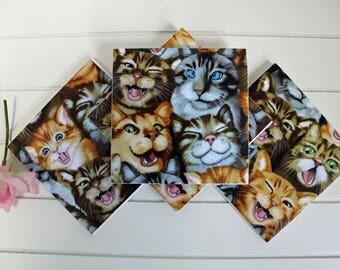 Ceramic Coasters, Tile Coasters, Coasters, Coaster Set, Cats, Tabby Cat, Ginger Cat, Kitten, Selfie, Housewarming Gift, Birthday Present