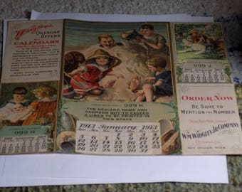 WRIGLEY'S Advertising Calendar - 1913 - Very Rare and Beautiful Colors - Use this coupon code at checkout for 25% off:  NICKZ6151C