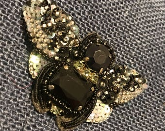 Embellished Beaded Agate Moth Pin Brooch
