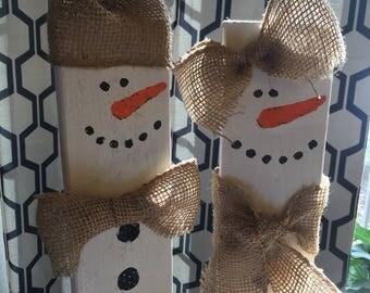 Christmas Wood Art Snowmen Pair