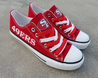 San Francisco 49ers shoes SF 49ers sneakers 49ers tennis shoes Holiday gifts Damaged font Custom shoes