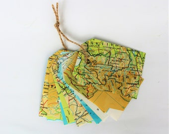 Gift tags | set of 10 labels, atlas, country and world maps