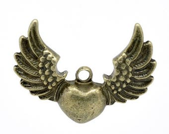 SET of 5 charms heart pendant winged bronze (R18)