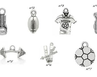 charm silver individually sport theme golf football rugby ball weight ski boxing alter