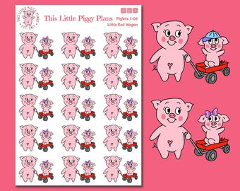 Little Red Wagon Planner Stickers - Toddler Stickers - Mommy and Me Stickers - Kids Stickers - Planner Stickers - Playtime - [Piglets 1-05]