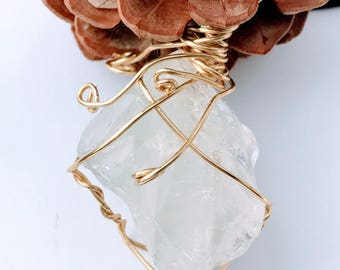 Clear Quartz Pendant Necklace - Raw Clear Quartz Pendant - Clear Quartz Necklace - Clear Quartz Pendant - Raw Stone Jewelry - Clear Quartz