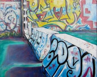 URBAN LANDSCAPE V - street art oil painting