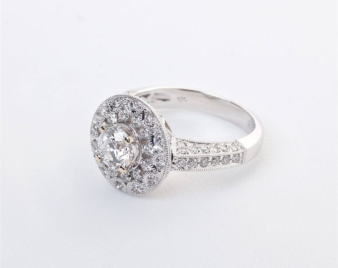 18K White Gold and Diamond Ring   Engagement Ring   Wedding Ring   Statement Ring   Handmade Fine Jewelry   Diamond Halo