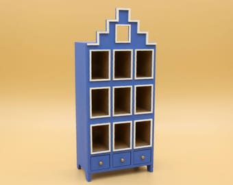 Wooden kit – dutch style bookcase in 1:12 scale - furniture for dolls, dollshouse miniature