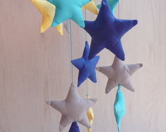 Baby mobile,baby mobile hanging,boy mobile,stars mobile,baby mobile stars
