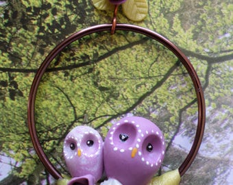 "Pendant ""perched OWL"" cold porcelain"