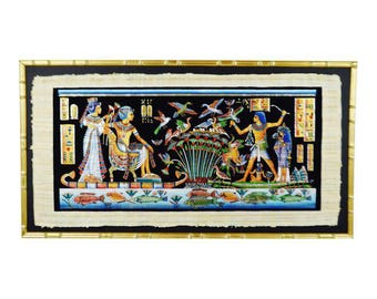 Vintage Framed Egyptian Papyrus Painting 53 x 28