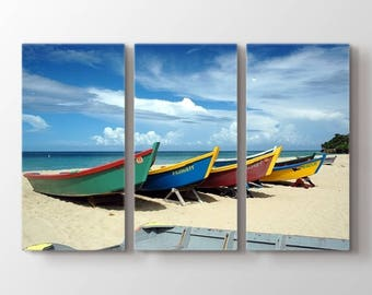 Large Wall Art Colorful Boats on Beach Canvas Print